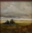 janet powers marsh painting of yellow grass and gray sky