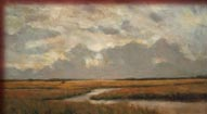 Cloudy sky over quiet marsh by Janet Powers